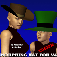 Hat Prop for Victoria 4 with 17 Morphs!